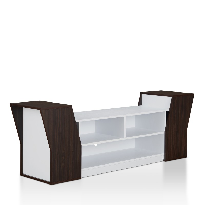 Ezra Contemporary 70-Inch TV Stand in Wenge and White