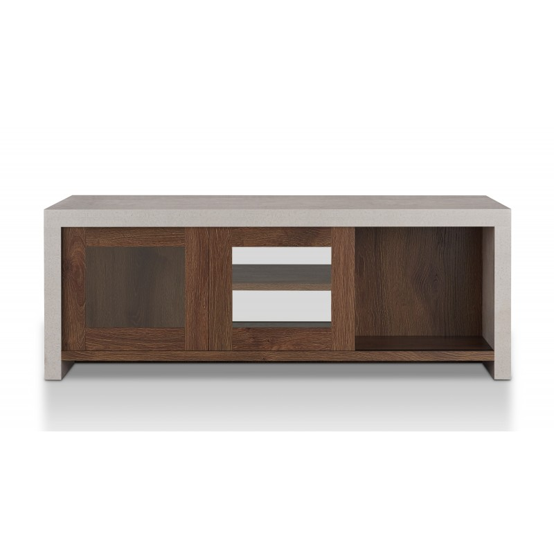 Wright Industrial Multi-Storage Coffee Table in Distressed Walnut and Cement