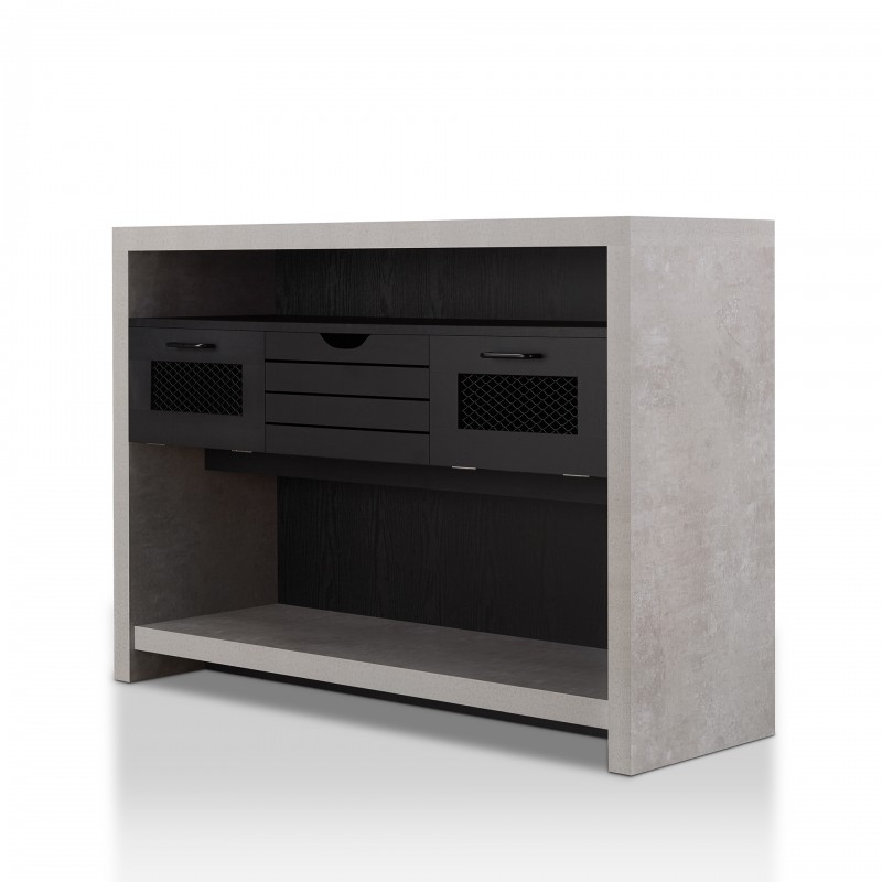 Gehry Industrial Multi-Storage Console Table in Cement and Black