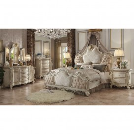 ACME Picardy California King Bed - 26874CK - Fabric & Antique Pearl