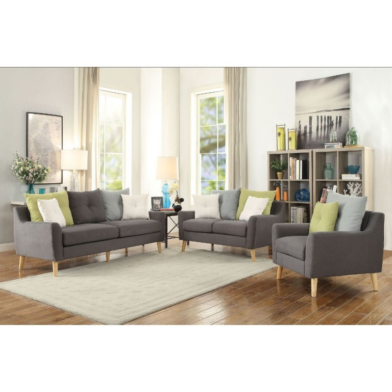 ACME Amie Chair w/2 Pillows - 53332 - Gray Fabric Out of stock