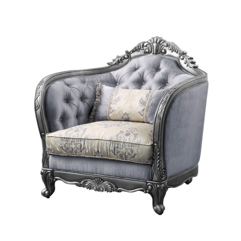 ACME Ariadne Chair w/1 Pillow - 55347 - Traditional - PU, Wood Molding/Leg (Poplar), Frame: Wood (Poplar), Poly-Resin, Foam - Fabric and Platinum