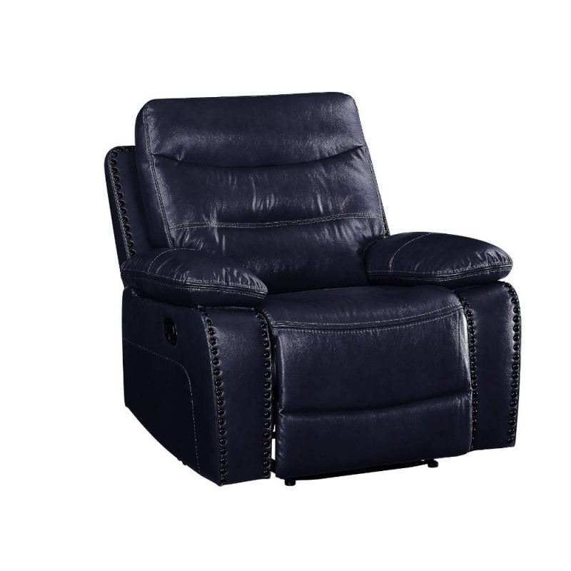 ACME Aashi Recliner (Motion) - 55372 - Contemporary - Leather-Gel, Frame: Wood (Hemlock/Fir, Ply), Foam (D28), Metal Reclining Mechanism - Navy Leather-Gel Match