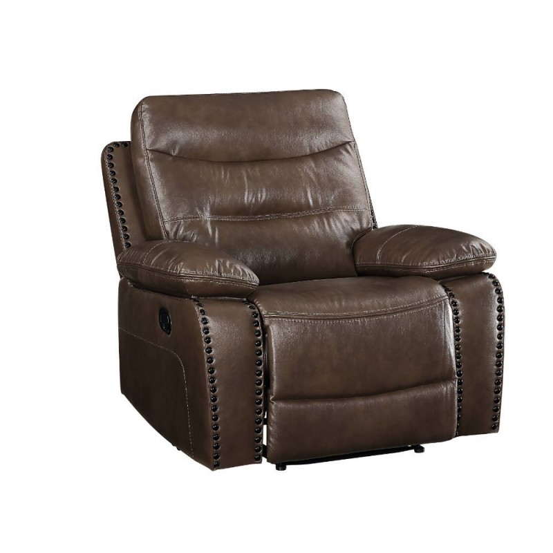 ACME Aashi Recliner (Motion) - 55422 - Contemporary - Leather-Gel, Frame: Wood (Hemlock/Fir, Ply), Foam (D28), Metal Reclining Mechanism - Brown Leather-Gel Match
