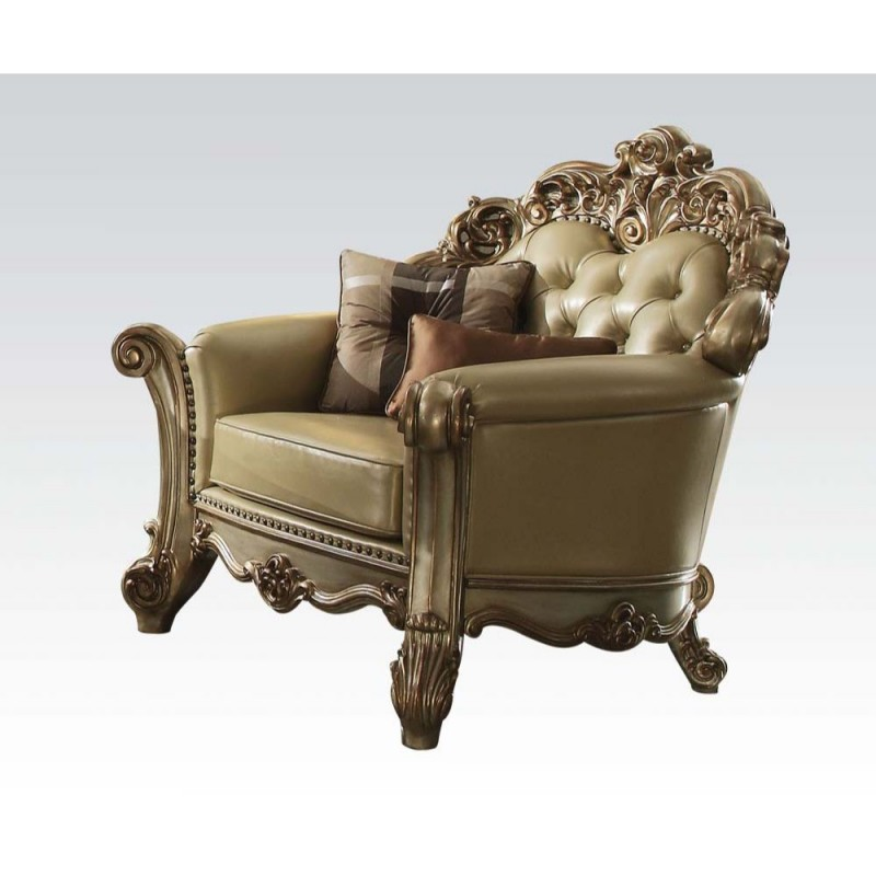 ACME Versailles Chair w/1 Pillows - 56842 - Velvet & Antique Platinum