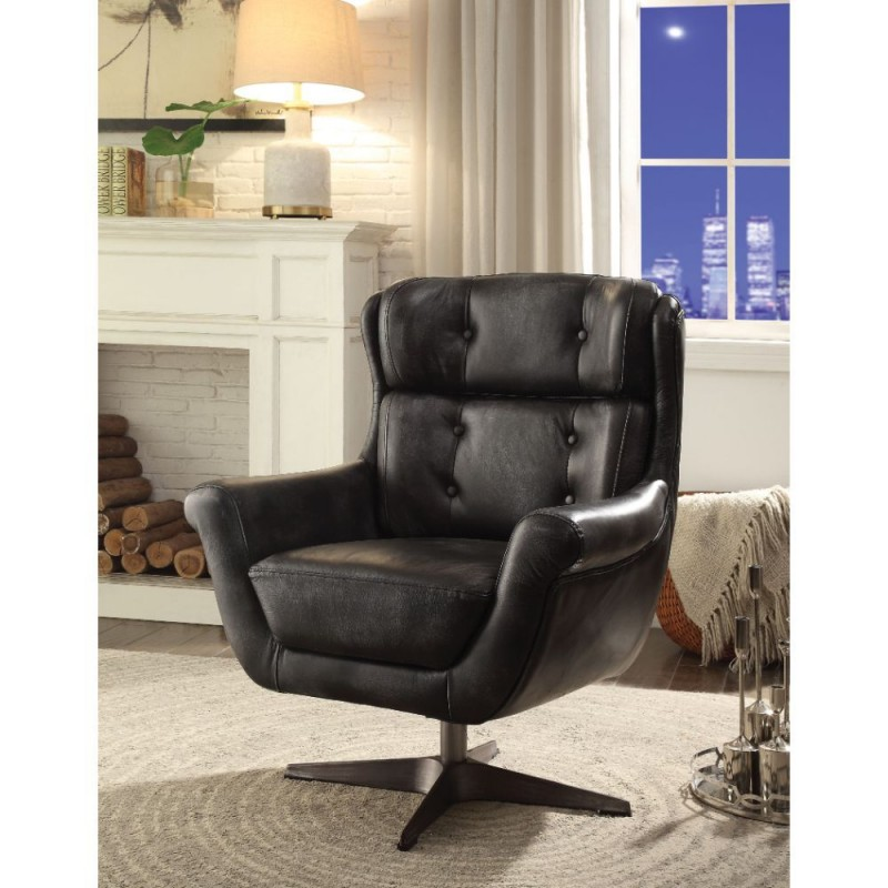 ACME Asotin Accent Chair - 59532 - Vintage Black Top Grain Leather