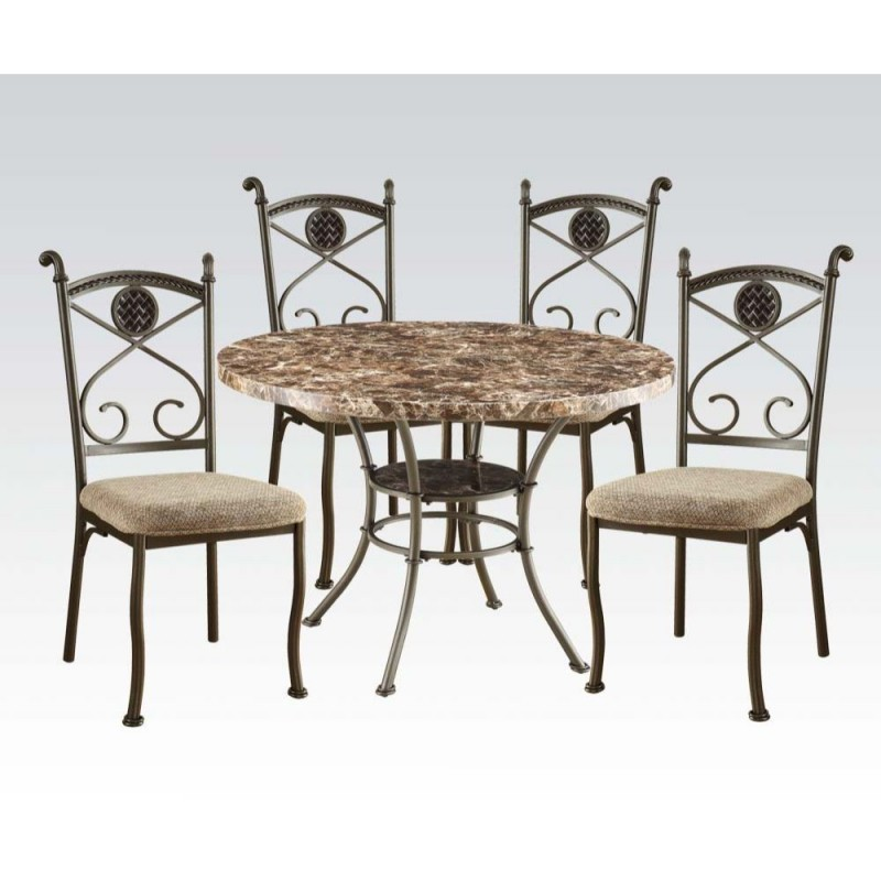 ACME Kleef 5Pc Dining Set - 70555 KIT - Brown Faux Marble