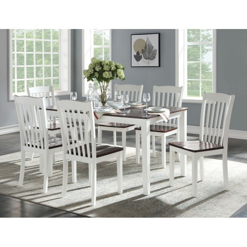 ACME Green Leigh 7Pc Pk Dining Set - 77060 - White & Walnut