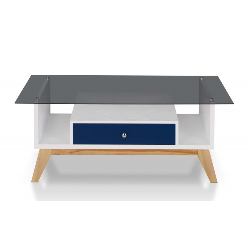 Philip Industrial Glass Top Coffee Table in Navy