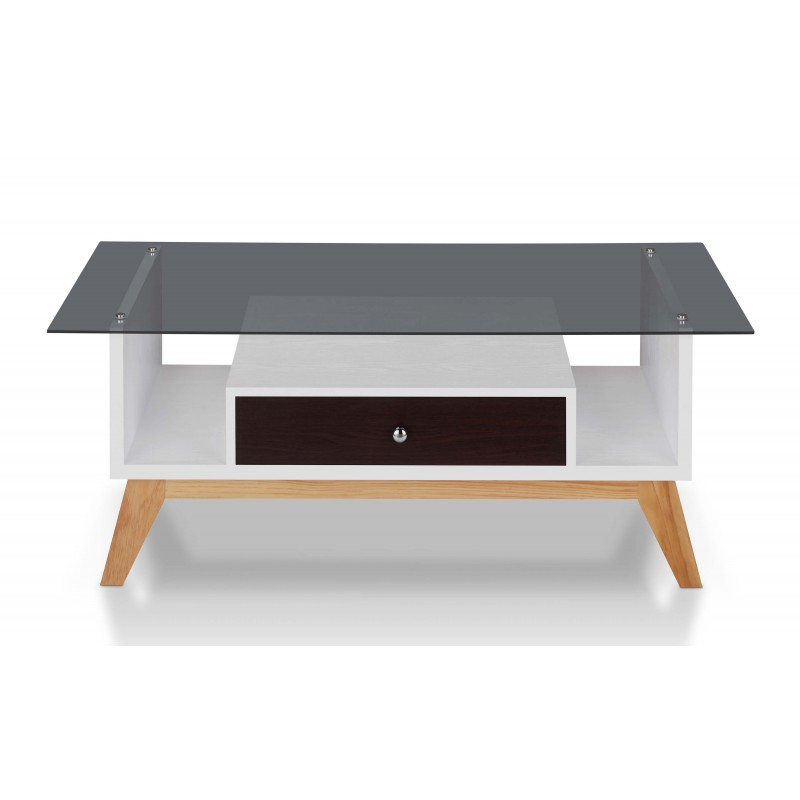 Philip Industrial Glass Top Coffee Table in Espresso