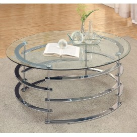 Odis Contemporary Glass Top Coffee Table