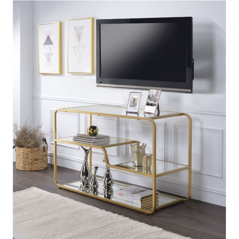 ACME Astrid TV Stand - 91395 - Gold & Mirror