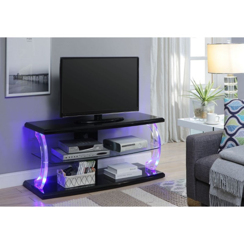ACME Aileen TV Stand (LED) - 91556 - Black & Clear Glass