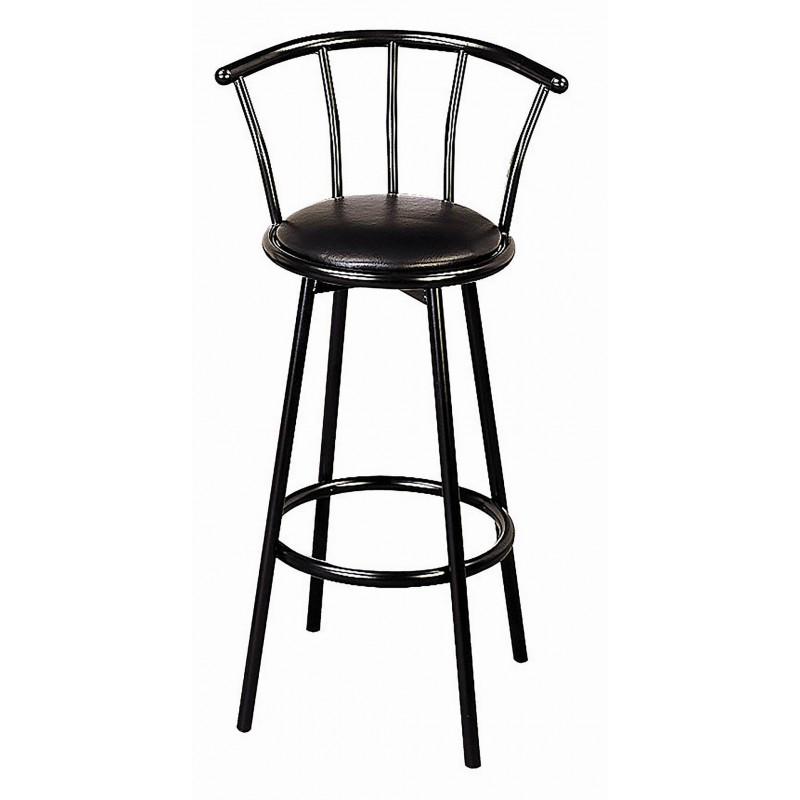30″ Metal Swivel Black Bar Stool