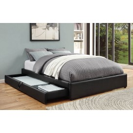 Hunter Collection's Transitional Black Upholstered Queen Storage Bed